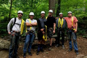 zipline adventure working together