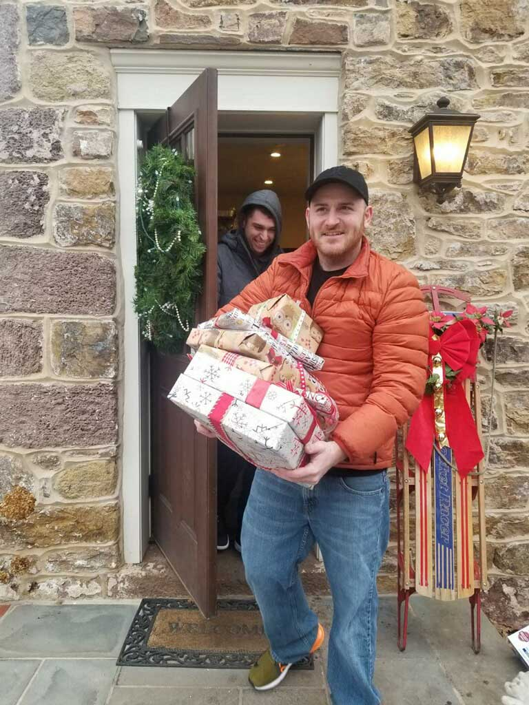 delivering presents