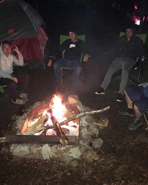 at night around the campfire
